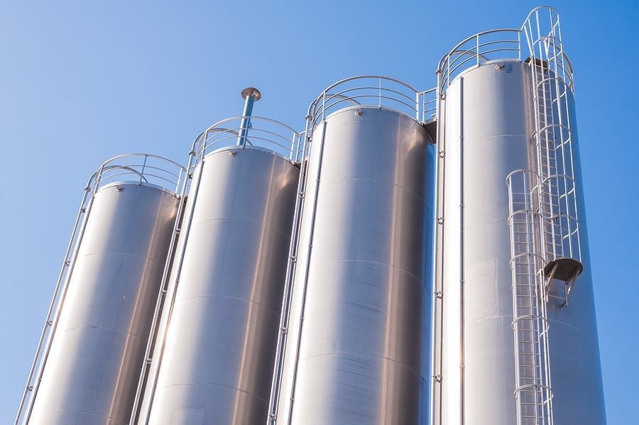 detail of chemical plant silos and pipes - Silos