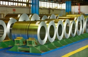 Coiled steel sheets inside of steel plant